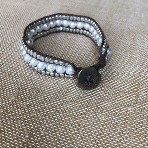 Jewelry - 3 rows of faux pearl & bead bracelet- brown cord